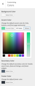 theme customizer for changing colors
